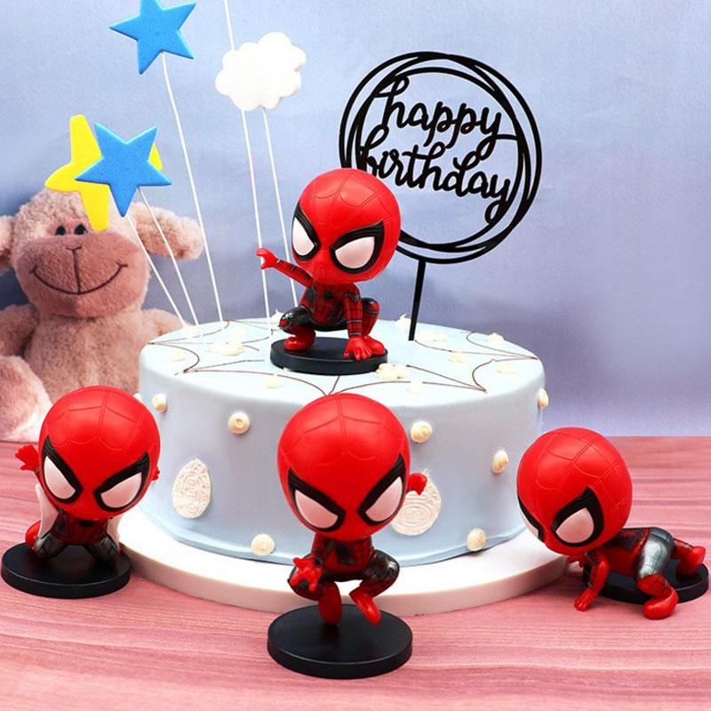 Enjoyable 4 Pcs Kawaii Cute Spiderman Cake Topper Kids Boy Birthday Gift Birthday Cards Printable Nowaargucafe Filternl