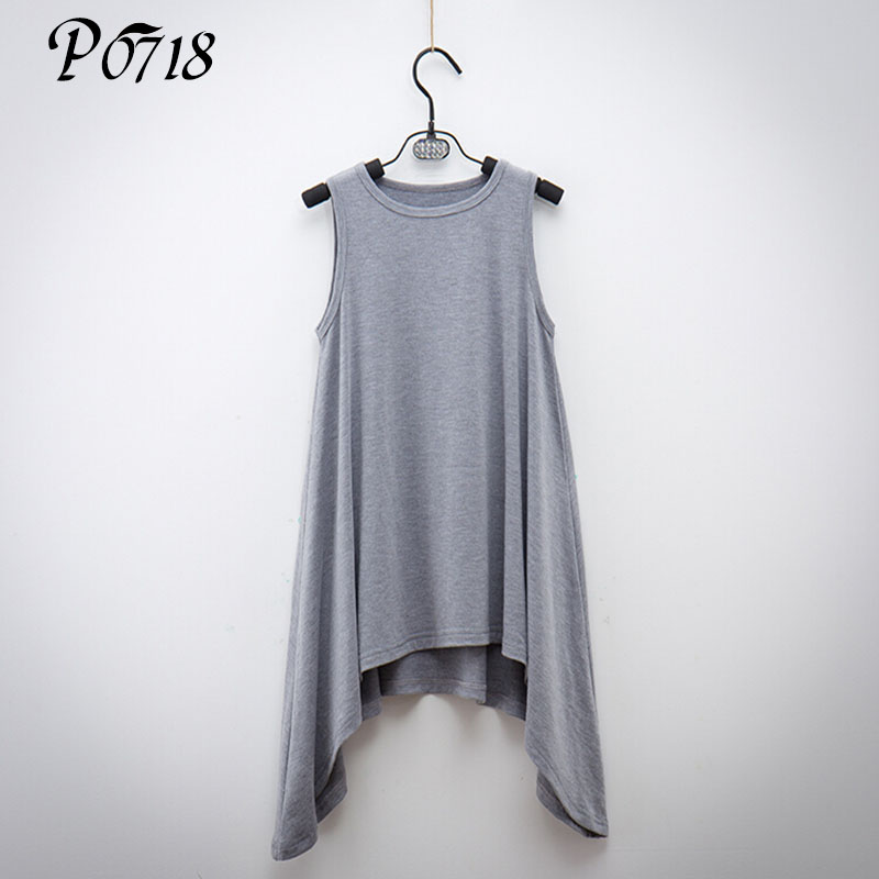 Children Girl Sleeveless Modal Vest Dress Cool Summer Clothes 2018 Kids Solid Fashion Irregular Dresses Pendulum Good Match
