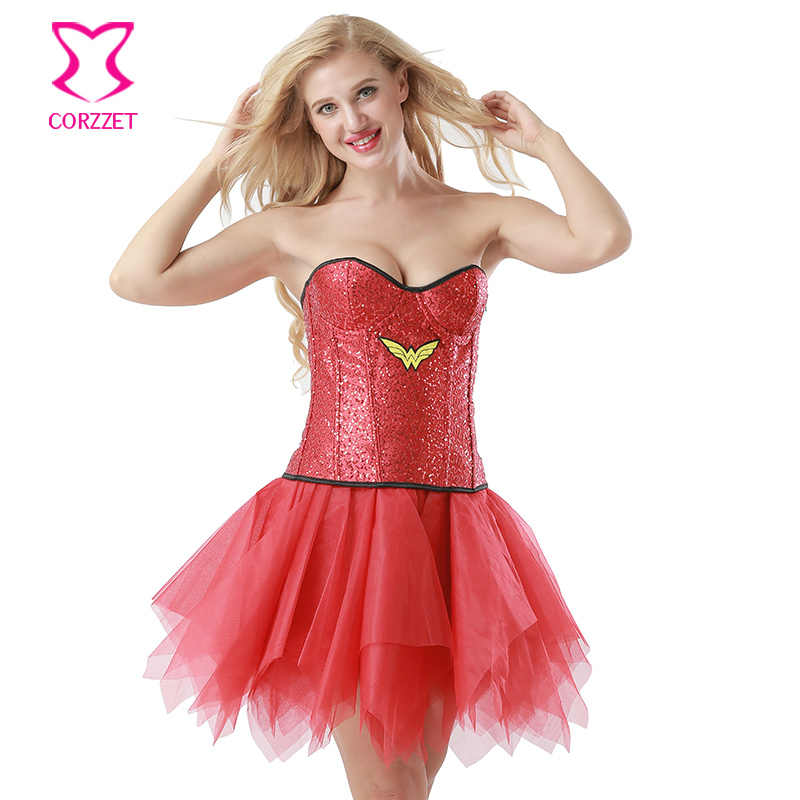 c03ecb00f87c ... Red Sequined Adult Carnival Cosplay Wonder Woman Costume Halloween  Costumes For Women Superhero Burlesque Fancy Dress ...