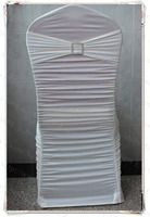 Ivory Color Ruffle Lycra Chair Covers With Lycra Band And Square Diamond Buckle Pin For Wedding