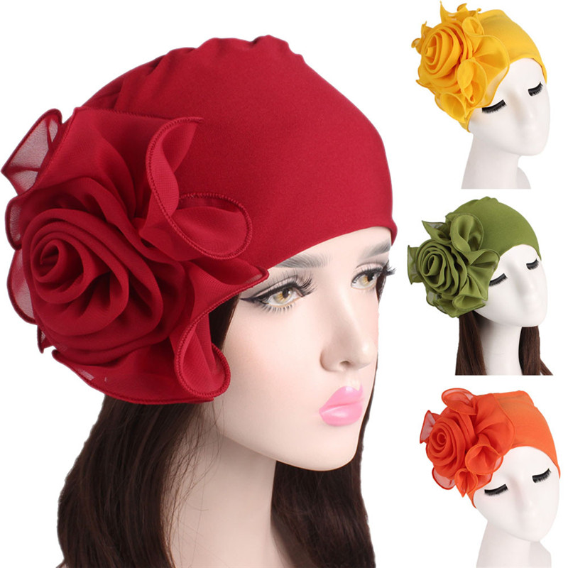 2019 Winter Hats For Women Ladies Beanie Scarf Retro Femme Cancer Chemo Big Flowers Hat Turban Wrap Hat Bonnet Femme 3.8