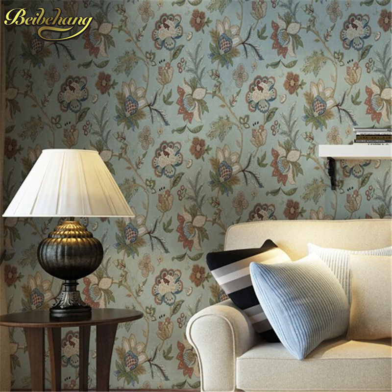 Beibehang vintage flower floral wallpaper for walls dark for Wallpaper home vintage