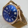 44mm Parnis Blau Zifferblatt Rose Goldene Überzogene Fall Silber Hände Lederband 6497 Hände Wickel Männer der Uhr