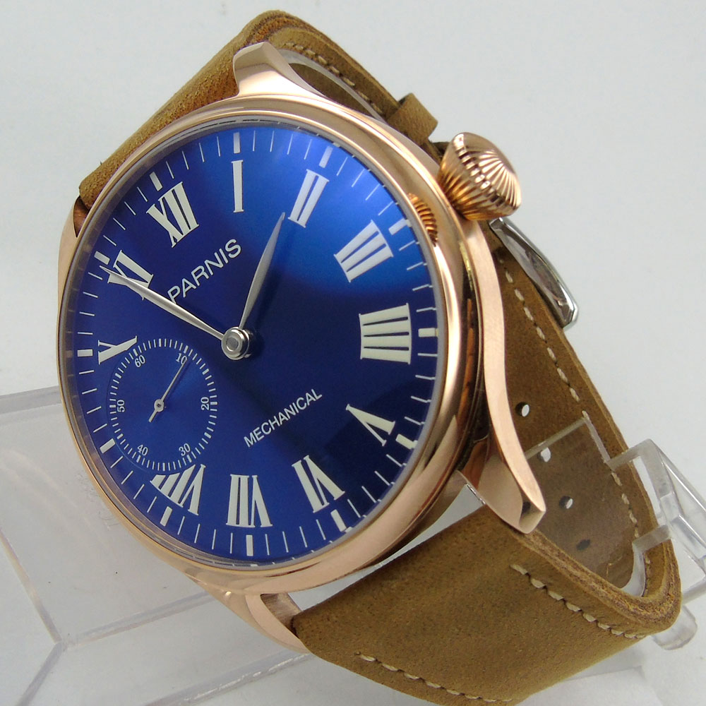 44mm Parnis Blue Dial Rose Golden Plated Case Silver Hands Leather Strap 6497 Hands Winding Men's Watch 44mm parnis blue dial luxury brand silver hands rose golden plated case luminous marks leather 6497 hands winding men s watch