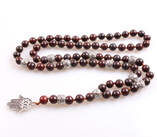 Long Lariat necklace with 8mm Natural stone beads and Hamsa Pendant for Men