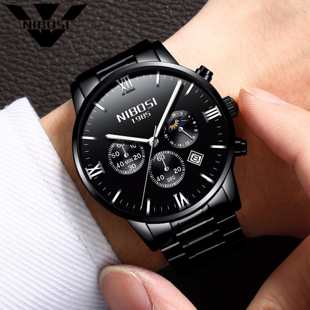 NIBOSIสีดำนาฬิกาผู้ชาย2017ยอดแบรนด์หรูชั้นนำที่มีชื่อเสียงยี่ห้อผู้ชายควอตซ์ทหารกีฬานาฬิกานา...