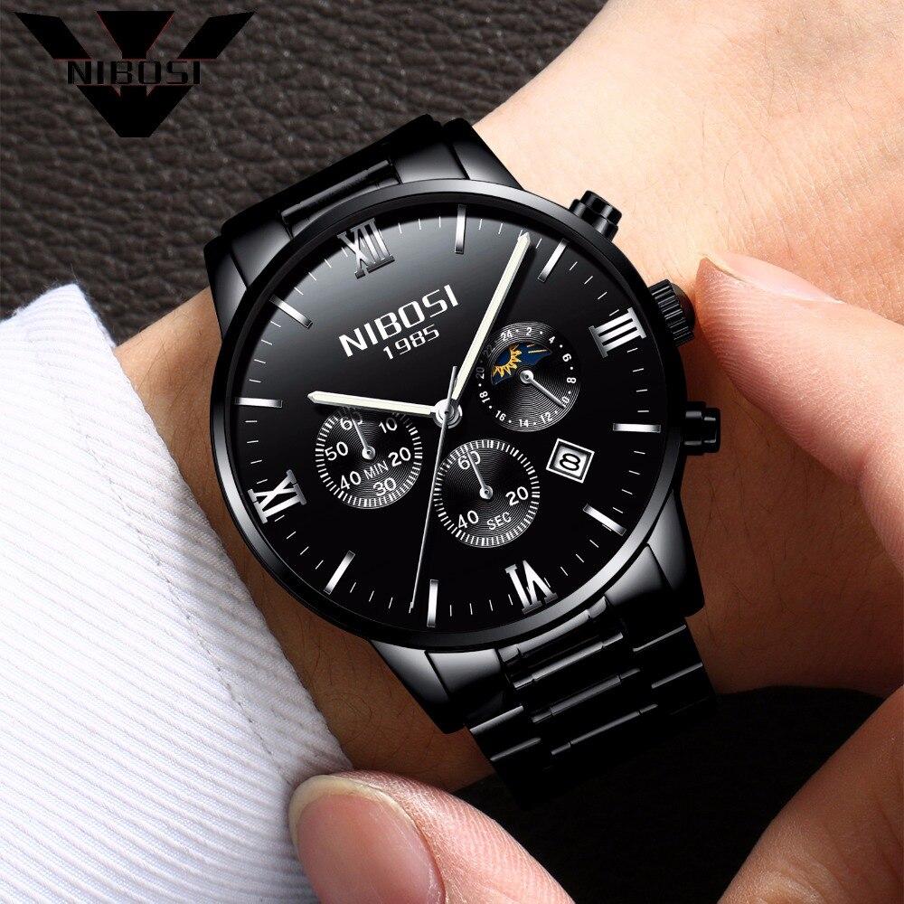 Aliexpress.com : Buy NIBOSI Black Watches Men 2017 Top ...
