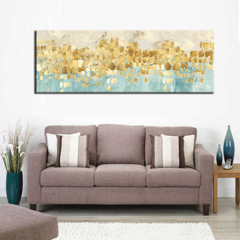 Modern Abstract Canvas Painting Gold Money Sea Wave Oil Painting on Canvas Poster Wall Art Picture for Living Room Home Decor