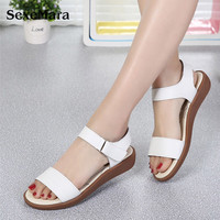 SexeMara Women Sandals Magic Buckle Summer Beach Sandals Genuine Leather Flip Flat Platform Bare Feet Pink