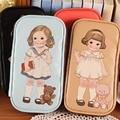 Hermosa muñeca de la muchacha estudiantes de impresión carpeta de las mujeres titular de la tarjeta monedero de señora clutch handbag burse Carteria bolsa de dinero