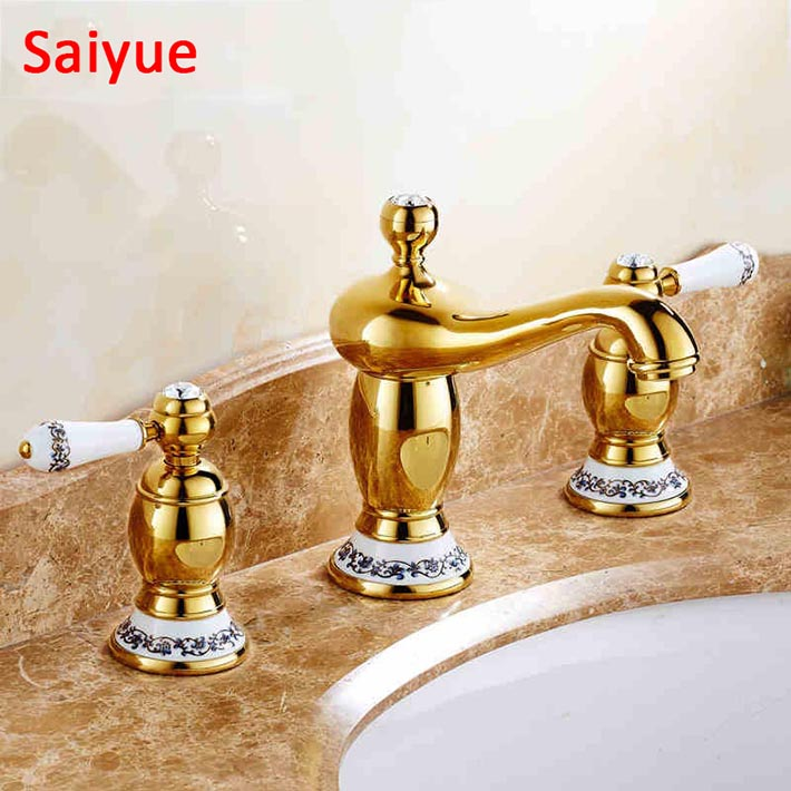 New Luxury Gold Polished 3pcs Basin Bathroom Sink Stolid brass Faucet Dual Handle Hole Mixer Tap with blue white ceramic handle fashion 3pcs black gold 8widespread basin tap faucet crystal dual handle three holes bathroom badkamer sink mixer kraan robinet