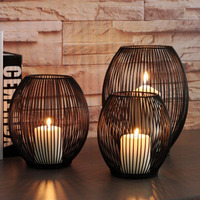 2pcs Iron Lantern Black Wire Mesh Tea Light Candle Holder Home Ornament Vintage Art Style