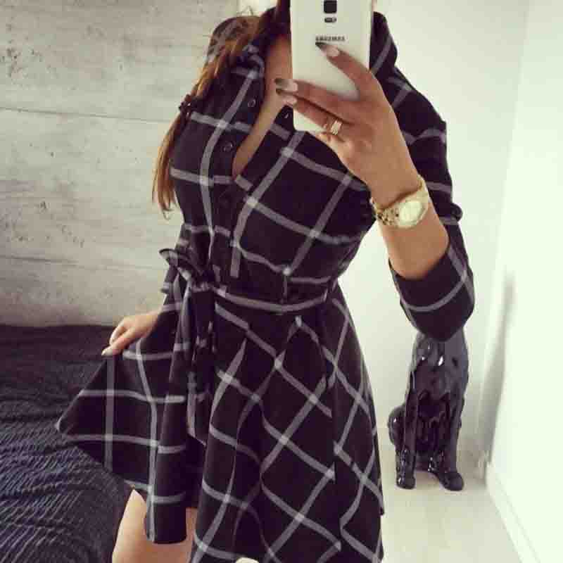 e585716aada Sexy Women Tartan Plaid Checkered Belted Button Down Shirt Dress Autumn  Fall 3 4 Sleeve Outfit Outwear Skater Tunic Dresses-in Dresses from Women s  Clothing ...