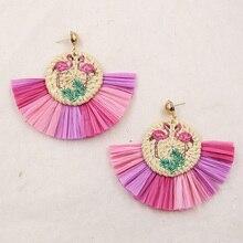 Vintage Raffia Earrings for Women Wicker Straw Rattan Earring Ethnic Geometric Flamingo Earing Boho Jewelry Boucle D Oreille