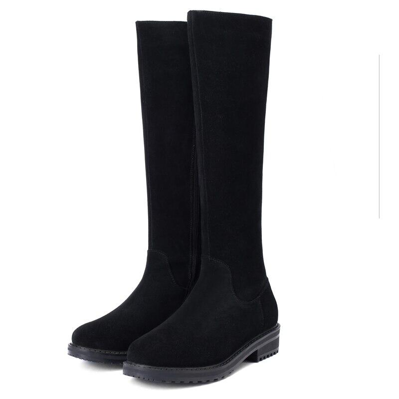 Nouveau Suède Femmes 2019 Furtado Concis Bottes Éclair Bout 40 Véritable De Mode Confortable Chaussures Hautes Rond Black Fermeture D'hiver Arden Taille 8EHdxwXqw