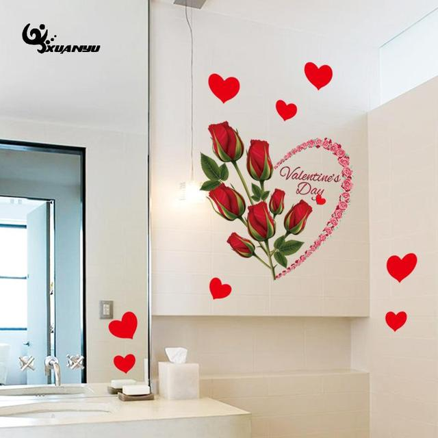 PVC Love Heart Rose Wall Sticker Wallpaper Decorative Stickers Wedding  Living Room Wall Decoration Home Decor