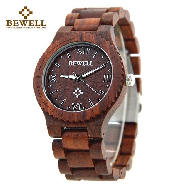 822e05bc49a Top venda relojes homens relógio de madeira bewell madeira auto data  relógio de pulso relógio de