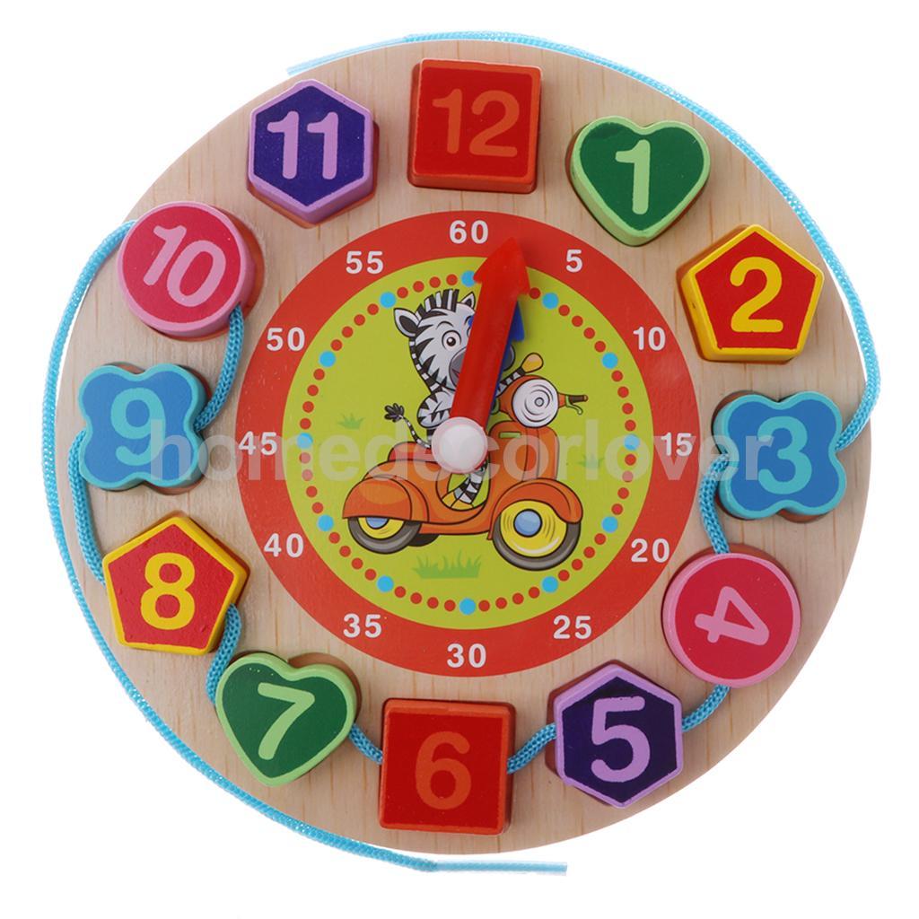 Wooden Digital Cartoon Lacing Beads Kids Learn Time Wall Clock Nursery Kids Toy Preschool Learning