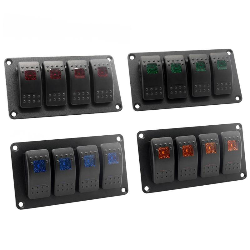 Orange LED 6 Gang ON-OFF Toggle Switch Panel 12-24V For Car Boat Marine RV Truck