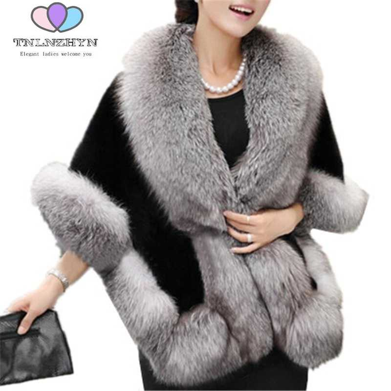 2019 New Boutique Winter Women Coat Shawl Faux Fur Coat Warm Autumn Large size Fake fox Fur Jacket Solid Women Shawl Outerwear