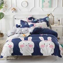 Blue/Pink/Gray Cute cartoon Rabbit Bedroom 4pcs Bedding Sets Bed Sheet Duvet Cover Pillowcase Bedclothes Twin Full Queen King