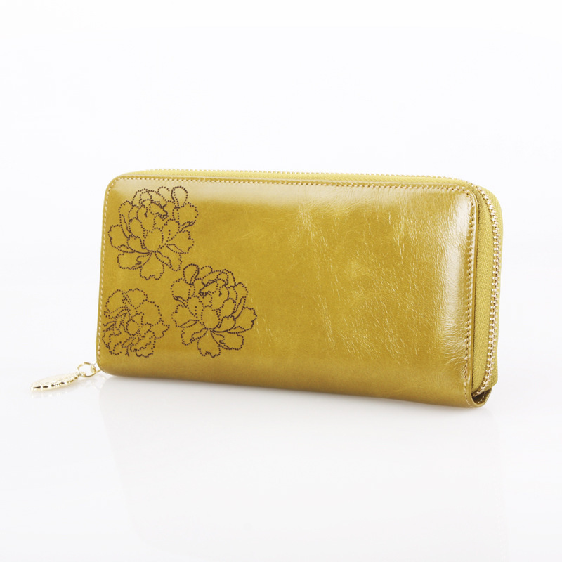 2018 New Genuine Leather Women Wallet Female Long Day Clutch Lady Walet Portomonee Rfid Money Bag Flower Print Zipper Coin Purse