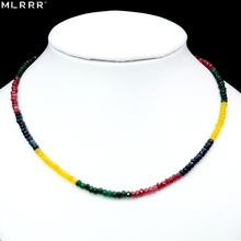 Clearance Vintage Classic Natural Stone Jewelry Delicate Emeralds Rubies Sapphires Citrines Beaded Chain Necklace 45cm