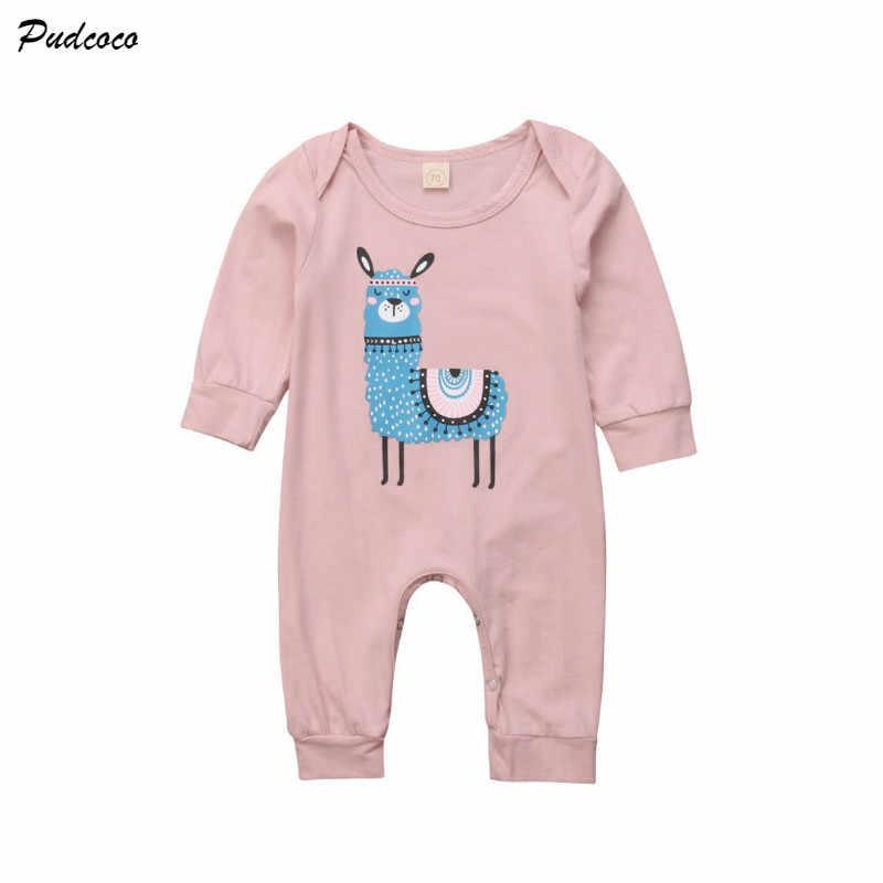 e1f66710813 Cute Newborn Baby Boy Girl Long Sleeve Cartoon Alpaca Print Cotton Romper  Jumpsuit Outfits Baby Clothes