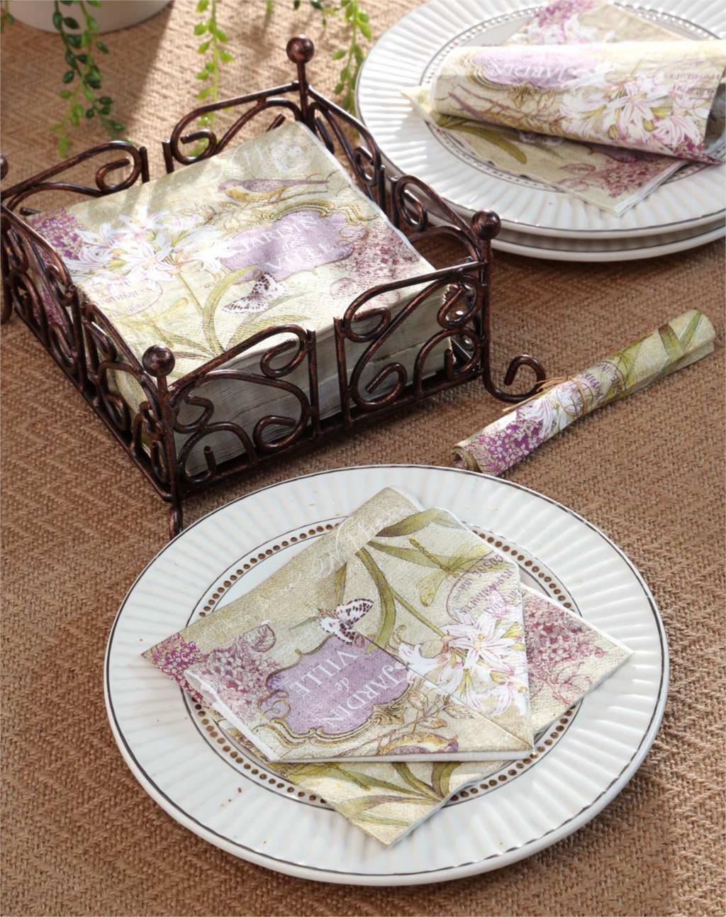 Cocktail Paper Napkins-20pcs 25*25cm 3-ply vintage purple paper napkins serviettes for wedding lily paper napkins-4NC5122B