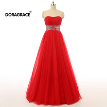 Doragrace Real Photos Strapless A-Line Long Prom Dresses Red Tulle Evening Party Gowns