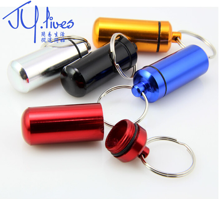 Free shipping Multicolor Aluminum Alloy Outdoor First Aid Small Gallipot Cartridge Keychain #240  B1