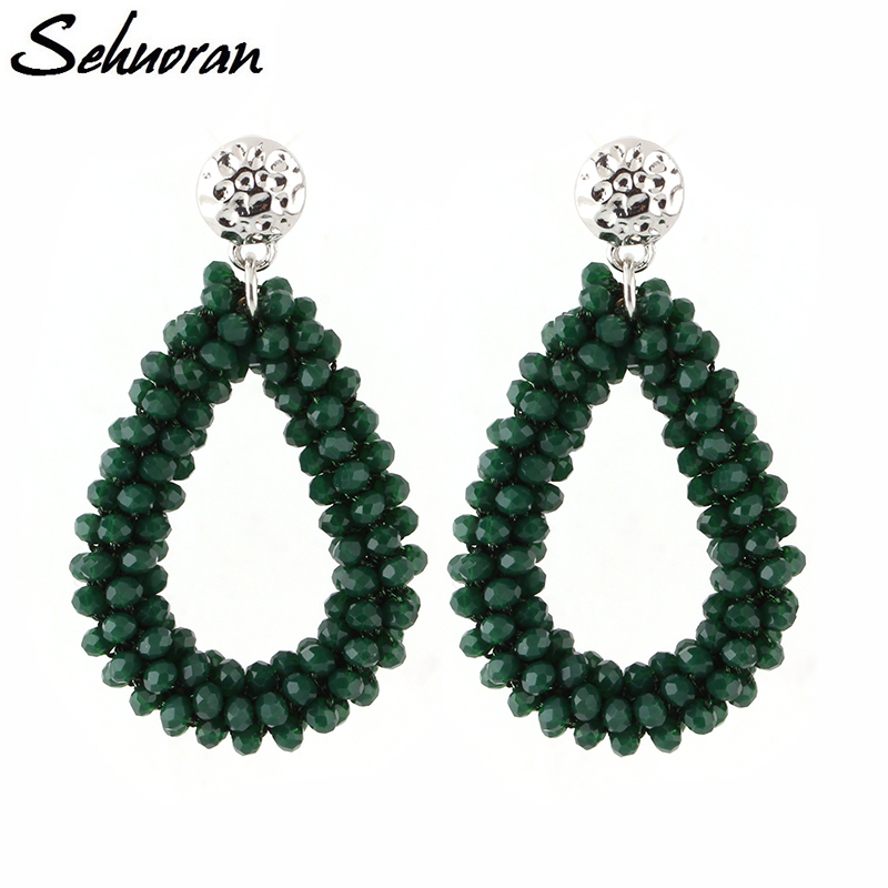 Sehuoran Dangle Earrings For Women Crystal Earring Faceted Beads Handmade Big Earrings Vintage Long Earrings WholeSale pair of vintage alloy emboss beads triangle earrings for women