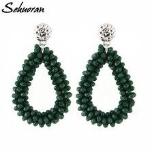 Sehuran Dangle Earrings For Women  Crystal Earring Faceted Beads Handmade Big Earrings Vintage Long Earrings WholeSale