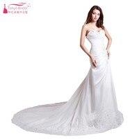 A Line Sweetheart Lace Crystal Pleat White Ivory Long Train Wedding Dresses Vestidos De Noiva China