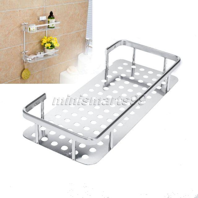 Space Aluminum Bathroom Shelf Bath Shampoo Towel Basket Rack Wall ...