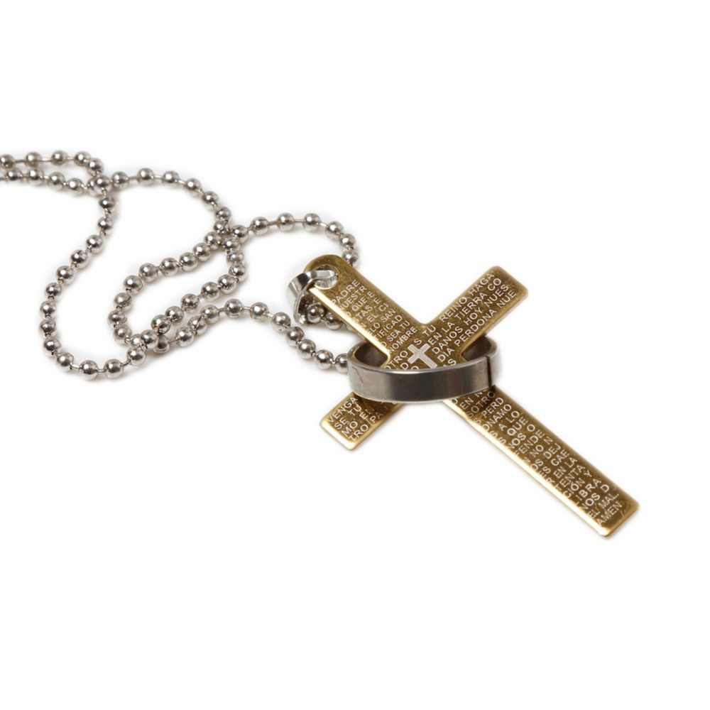 Fashion Men's The Bible Cross Titanium Steel Pendent Necklace Couples Jewelry Gift 4 Colors Free Shipping NL-0739