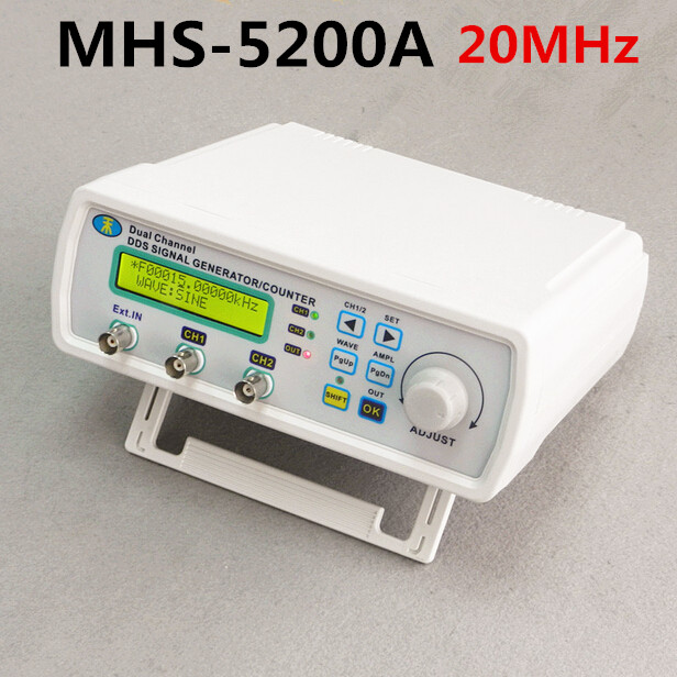 MHS-5200A High Precision Digital DDS Dual-channel Signal Source Generator Arbitrary Waveform Frequency Meter 200MSa/s 20MHz free shipping mhs 3206a dual channel nc function dds signal generator counter dds signal source frequency meter 6mhz