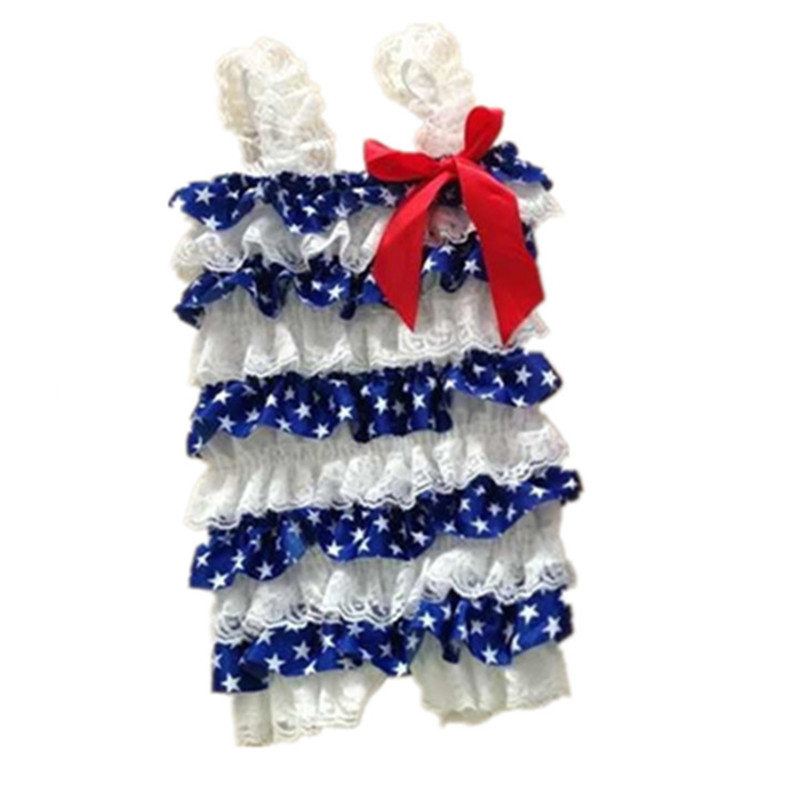 Baby Girl Patriotic Day Ruffle Rompers Fourth Of July Baby Girl Rompers