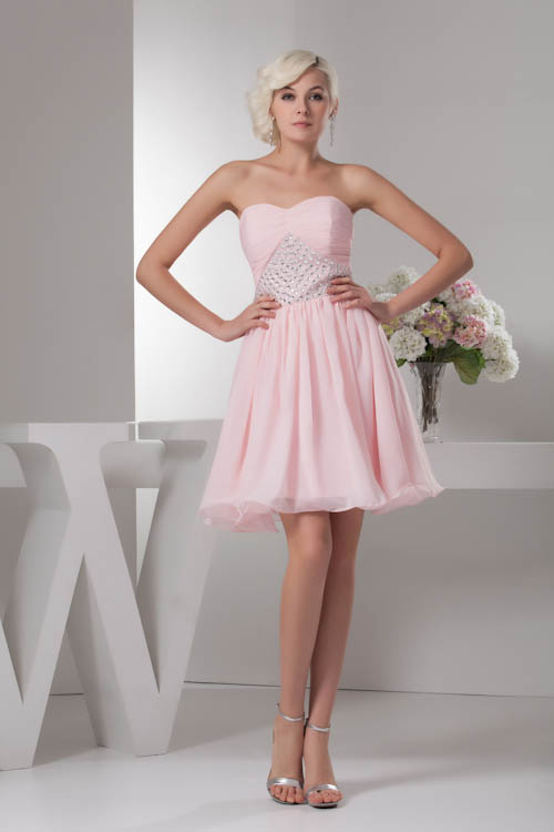 New Arrival Custom-made Short Chiffon   Bridesmaid     Dresses   Knee Length Formal Gown Beaded Wedding Party   Dresses