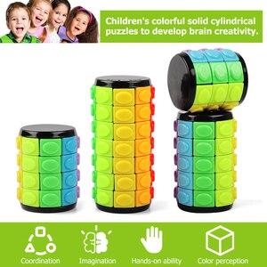 Image 2 - חדש 3D לסובב שקופיות מגדל בבל מתח קוביית פאזל צעצוע קוביית ילדים למבוגרים צבע צילינדר הזזה פאזל צעצוע חושי