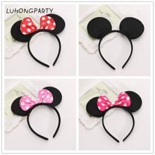 1pcs Hair Accessories Mickey Minnie Mouse Ears Solid Black & Colorful Bows Headband for Boys/Girls Birthday Party Celebrations