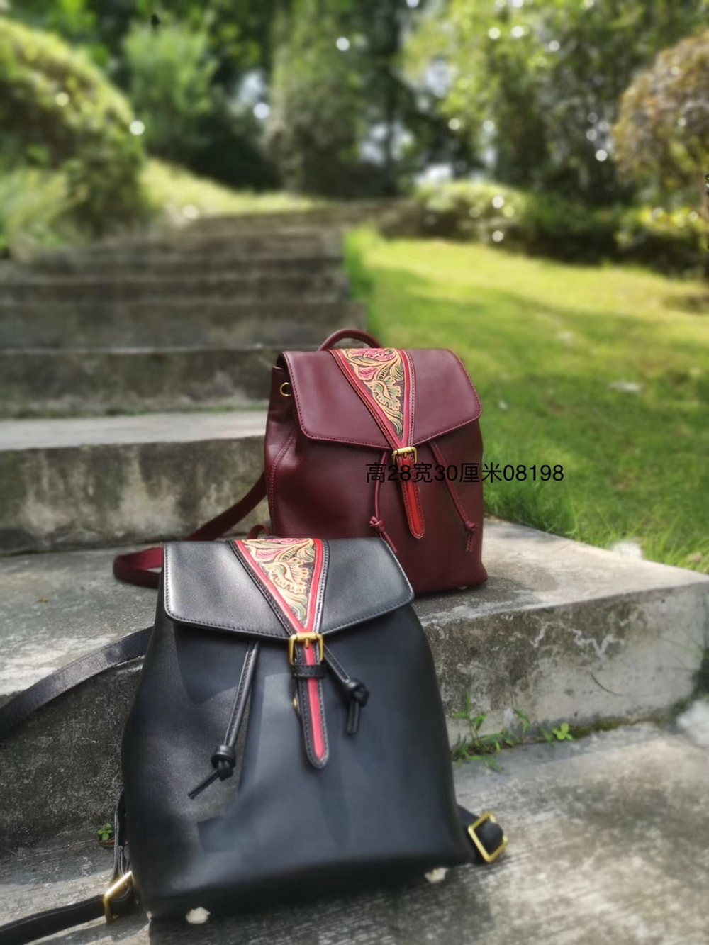 XHTY leather backpack female suede leather medium high-end original handmade leather carving free postage