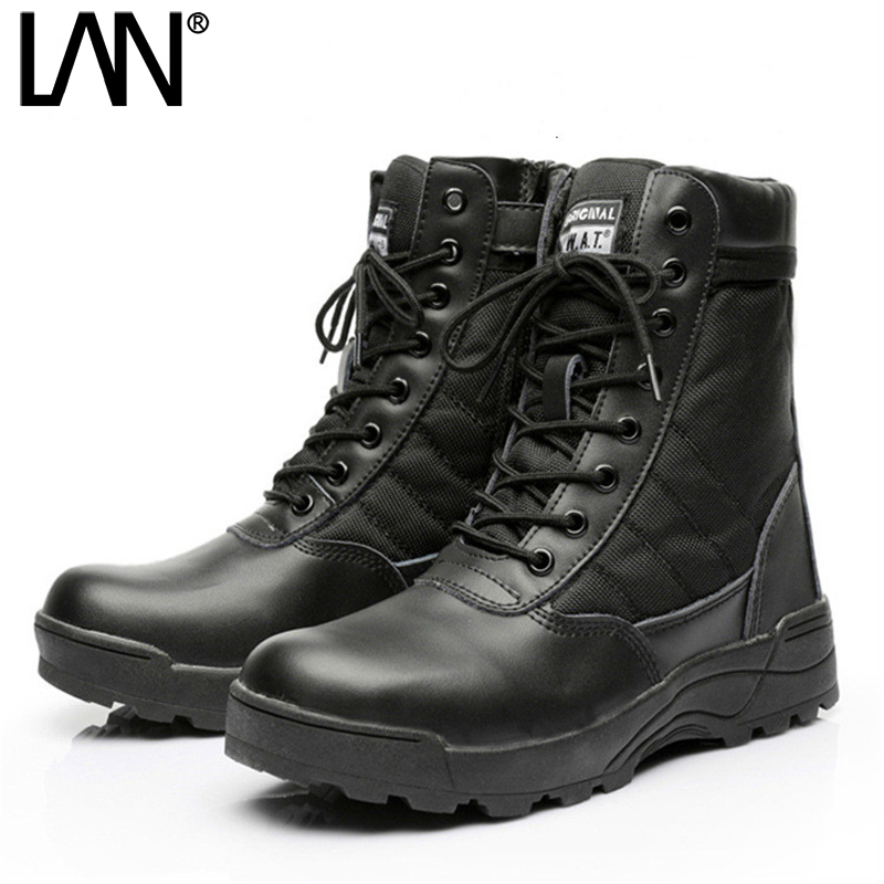 High Top Army Boots Male Zipper Design Tactical Boots Delta SWAT Shoes For Men Black Military
