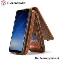 CaseMe Leather Case For Samsung Note 8 Retro Detachable 2 In 1 Flip Card Cash Slot