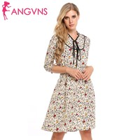 ANGVNS Women Casual 3 4 Sleeve Floral Print V Neck Stand Collar Tunic Dress Spring 2018
