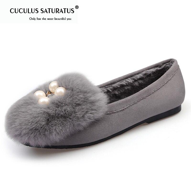 Cuculus automne hiver chaussures femmes appartements perle fourrure sans lacet chaussures plates bout carré en métal bateau chaussures femme mocassins Zapatos Mujer1648