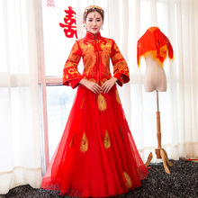 Chinese Lady Exquisite Mesh Dress Phoenix Embroidery Ball Gown Wedding Dress  Cheongsam Satin Qipao Evening Gowns Oversize 3xl c2ded0b7ab3a