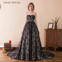 Angel Novias Long Black Vintage Lace Wedding Dress 2018 Bridal Gowns Vestidos De Noiva De Luxo 2016
