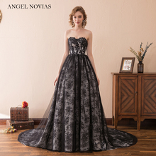Angel Novias Long Black Vintage Lace Wedding Dress 2018 Bridal Gowns Vestidos De Noiva De Luxo 2016