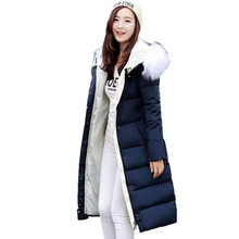 2016 Winter Women's Cotton Slim Long Coat Fur Collar Hooded Parka Jackets Coats Black Overcoat Plus Size Down Parkas Female C424
